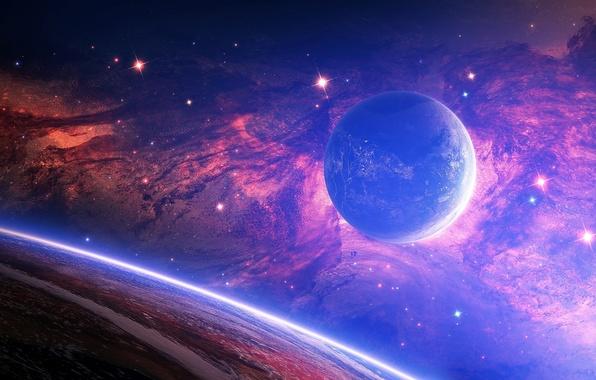 Картинка звезды, туманность, пространство, планеты