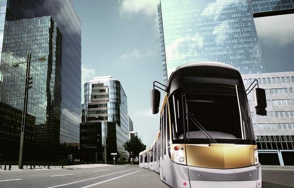 Картинка здания, трамвай