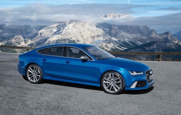 Картинка небо, горы, синий, фон, Audi, Ауди, Performance, Sportback, RS7