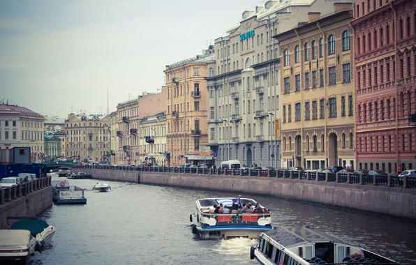 Картинка река, здания, дома, лодки, Питер, Санкт-Петербург, Россия, Russia, спб, St. Petersburg, spb