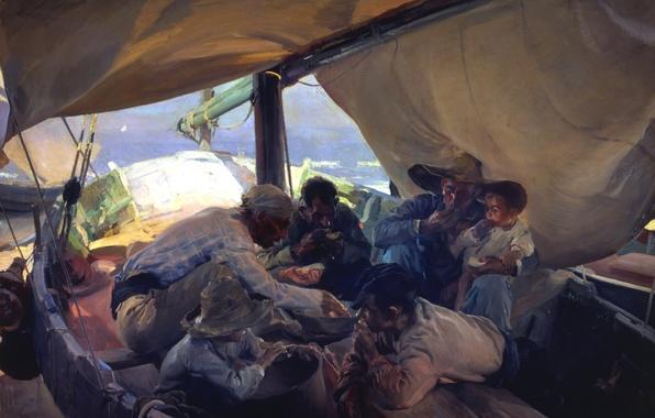 Картинка картина, парус, рыбаки, жанровая, Хоакин Соролья, Обед в Лодке