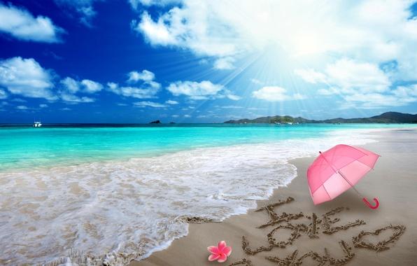 Картинка песок, пляж, любовь, романтика, сердце, рисунок, love, beach, sea, i love you, umbrella, romantic, sand, …