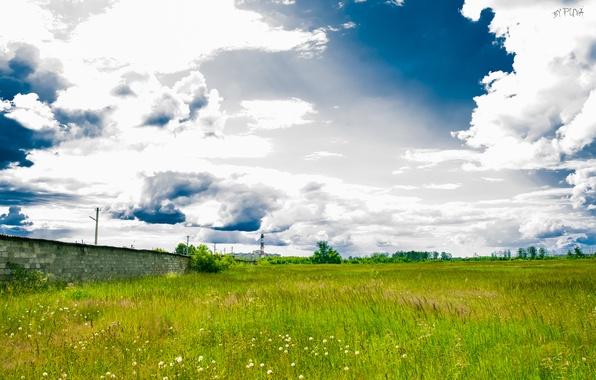 Фото обои HDR, пейзаж, поле, облака