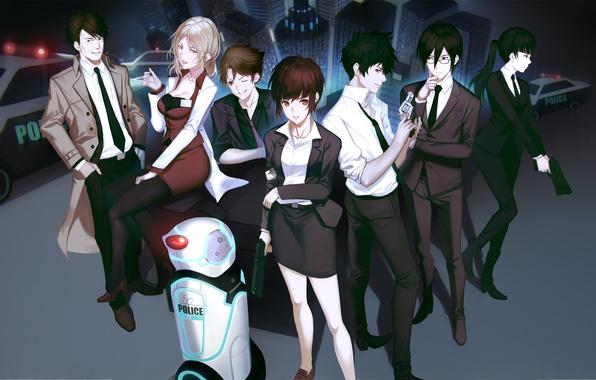 Картинка город, пистолет, оружие, девушки, робот, дома, полиция, аниме, арт, парни, yykuaixian, psycho-pass, tsunemori akane, kougami …