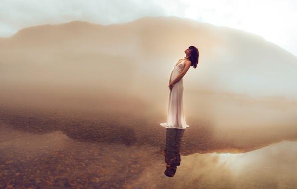 Картинка вода, девушка, озеро, отражение, настроение, платье