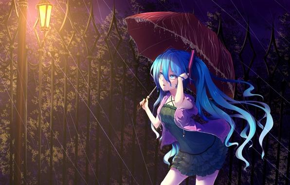 Картинка девушка, ночь, дождь, удивление, зонт, фонарь, vocaloid, hatsune miku, вокалоид, art