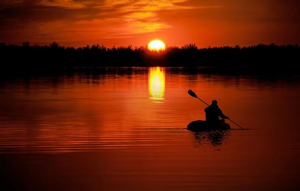 Картинка закат, природа, река, путь, лодка, человек, цель, вечер, силуэт, river, nature, sunset, зодиак, направление, доплыть, …