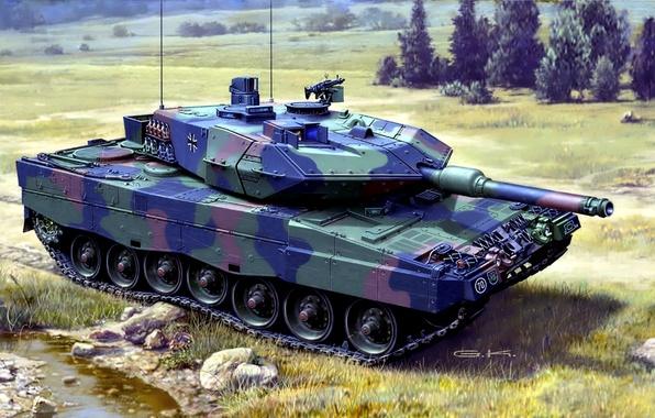 Картинка рисунок, арт, танк, камуфляж, раскраска, боевой, немецкий, основной, Leopard 2, Леопард 2