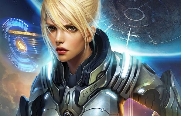 Картинка девушка, космос, интерфейс, планета, костюм, space, girl, броня, armor, обложка, planet, cover, suit, interface, This …