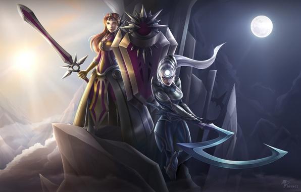 Картинка оружие, девушки, луна, меч, арт, коса, league of legends, Leona, Diana