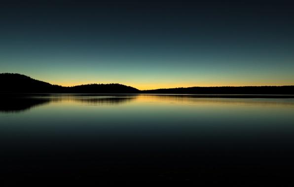 Картинка небо, отражение, холмы, утро, зеркало, силуэт, Орегон, Соединенные Штаты, Полина озеро