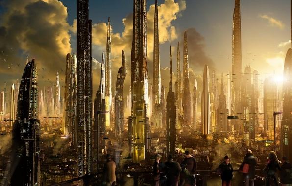 Картинка солнце, облака, закат, город, огни, будущее, здания, дороги, планета, корабли, sunset, sci-fi, ships, towers, трассы, …