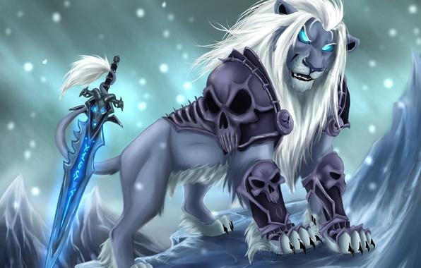Картинка холод, взгляд, снег, оружие, магия, меч, лев, арт, грива, черепа, броня