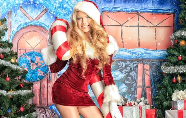 Картинка украшения, праздник, блондинка, подарки, Новый год, снегурочка, карамель, celebration, New year, pretty girl