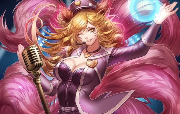 Картинка девушка, улыбка, магия, декольте, микрофон, ушки, art, лисица, league of legends, хвосты, подмигивает, ahri, liuruoyu8888