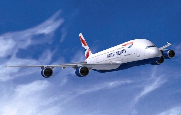 Картинка Белый, Самолет, Крылья, Авиация, A380, Airbus, В Воздухе, Летит, Авиалайнер, British Airways