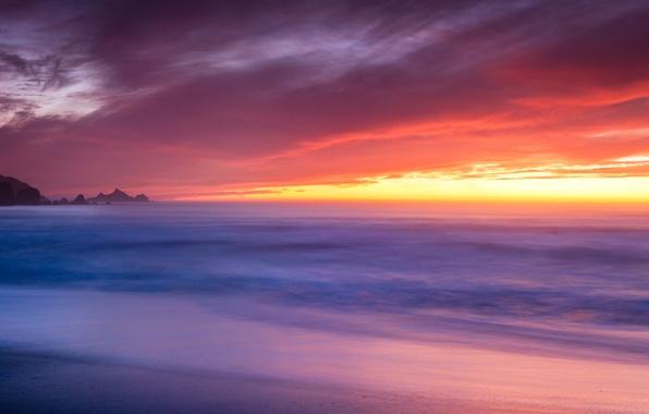 Картинка пляж, океан, рассвет, побережье, USA, Pacifica, Rockaway Beach