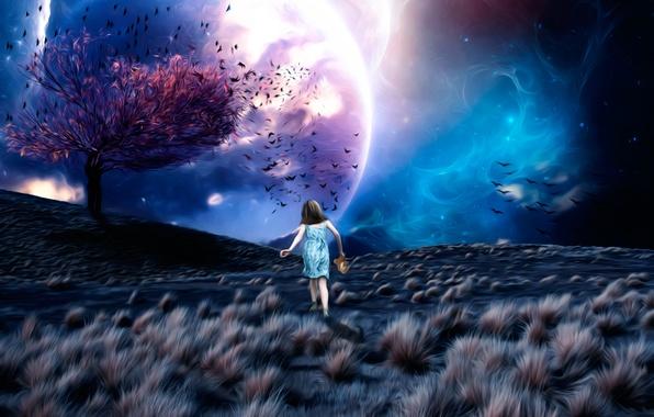 Картинка космос, фантазия, дерево, арт, девочка, Lost in a Dream, листья птицы, ????