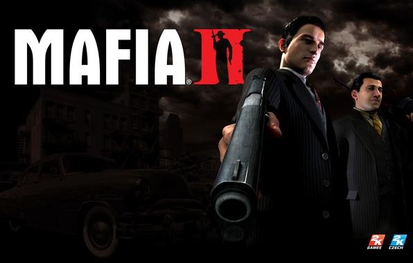 Картинка машина, пистолет, Мафия 2, Mafia 2, Vito Scaletta, Вито Скалетта