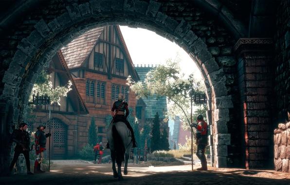 Картинка Ведьмак, Цири, The Witcher-3:Wild Hunt, Gate to the city