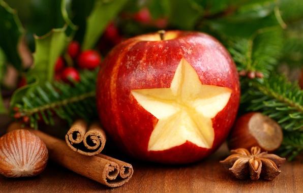 Картинка Яблоко, Рождество, Новый год, Праздник, Корица