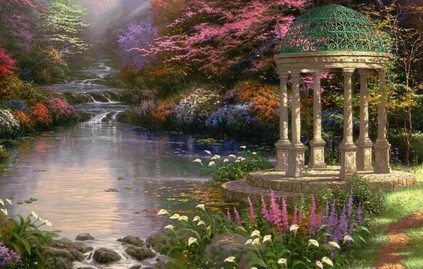 Картинка цветы, парк, ручей, картина, каскад, ротонда