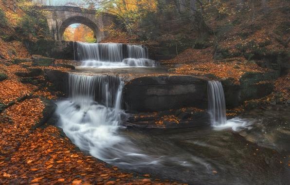 Картинка осень, листья, мост, река, водопад, каскад, Болгария, Bulgaria