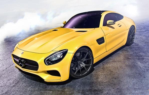 Картинка car, желтый, mercedes, amg