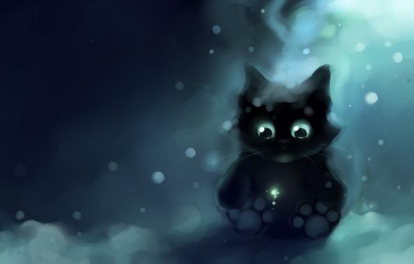 Картинка снег, одиночество, лапы, Котенок, apofiss