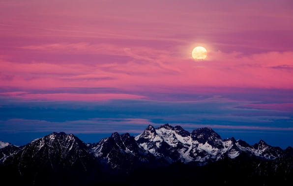 Картинка снег, пейзаж, закат, горы, луна, Альпы