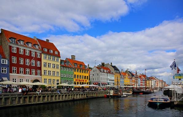 Картинка дома, Дания, набережная, городской пейзаж, Копенгаген