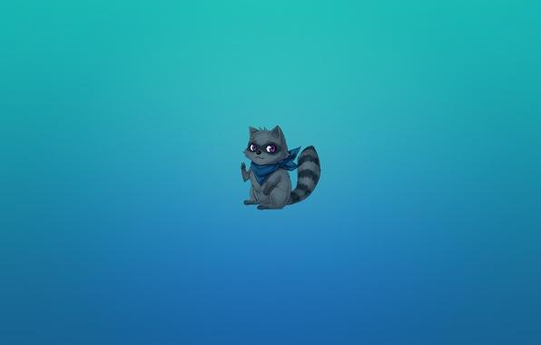 Картинка животное, минимализм, аниме, хвост, енот, полосатый, жест, peace, raccoon, синеватый фон