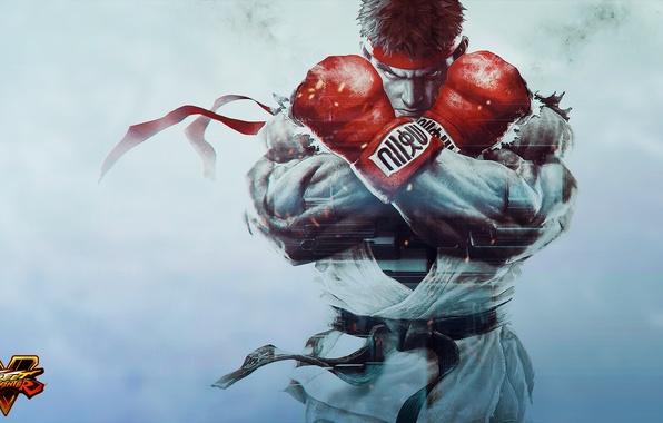 Картинка перчатки, боец, art, ryu, Street Fighter 5, Street Fighter V