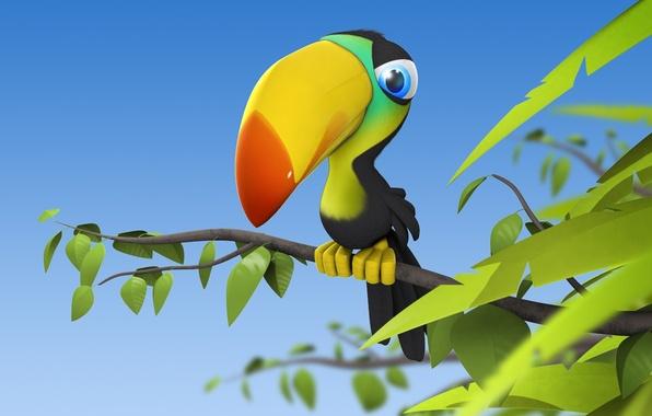 Картинка птица, ветка, листочки, тукан