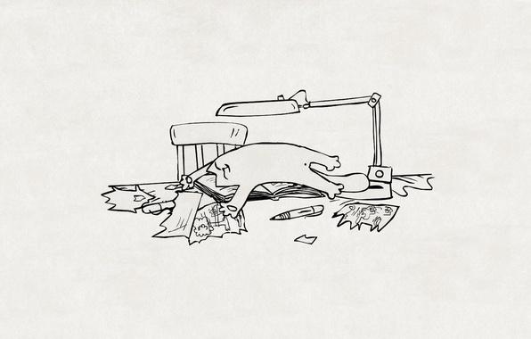 Картинка кот, бумага, стол, рисунок, лампа, стул, ручка, лежит, клочки, котэ, simon's cat