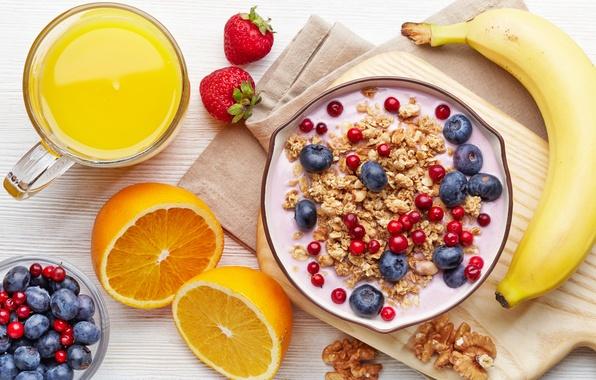 Картинка оранжевый, молоко, черника, клубника, сок, чашка, juice, фрукты, банан, смородина, cup, fruit, orange, banana, strawberry, ...