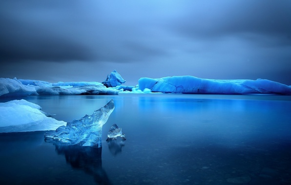 Картинка лед, море, небо, вода, снег, озеро, Зима, ice, сумерки, twilight, sea, water, winter, lake, snow, …