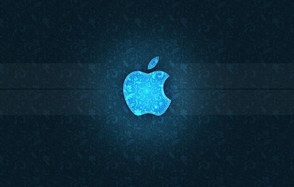 Картинка синий, полосы, узор, apple, яблоко