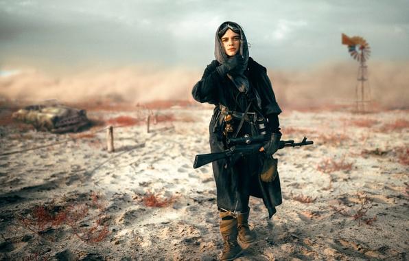 Картинка девушка, оружие, автомат, снайпер, Blackbird