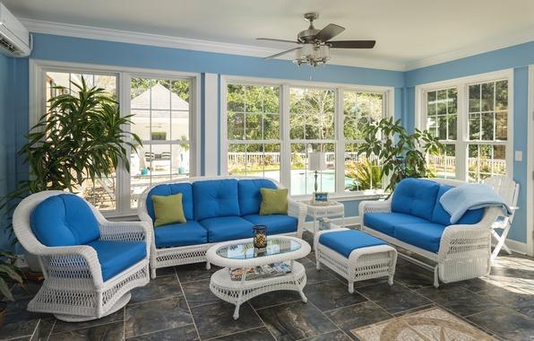 Картинка диван, мебель, окна, кресла, веранда