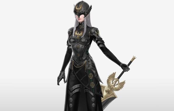 Картинка девушка, птица, меч, доспехи