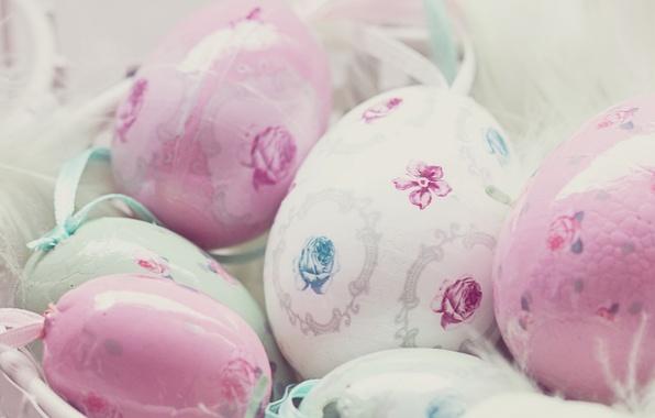Картинка праздник, розы, яйца, весна, Пасха, розовые, белые, роспись, Easter, пасхальные