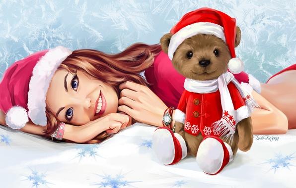Картинка взгляд, девушка, улыбка, игрушка, новый год, мишка