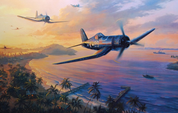 Картинка aircraft, war, art, airplane, painting, aviation, drawing, ww2, dogfight, pacific war, f4u corsair