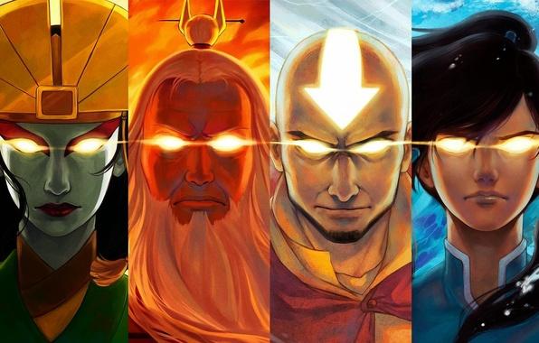 Картинка глаза, вода, огонь, земля, воздух, Avatar, Аватар, Корра, Korra, Аанг, The Legend of Korra, Легенда …
