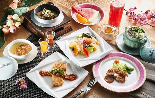 Картинка блюда, ассорти, суп, десерт, сок, мясо, салат