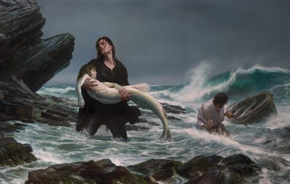 Картинка море, шторм, русалка, картина, рыбаки, Donato Giancola