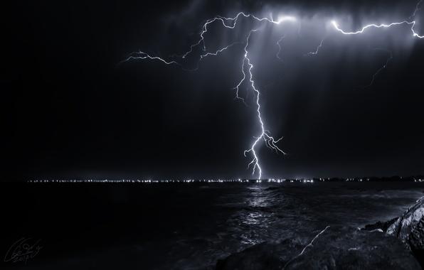 Картинка море, небо, ночь, природа, молния