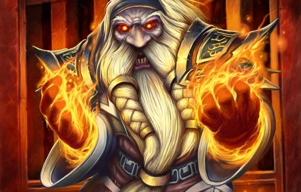 Картинка огонь, магия, арт, борода, WoW, World of Warcraft, дворф, Hearthstone, Blackrock Mountain, Судья Мрачнокамень, High ...
