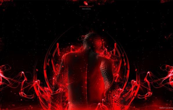 Картинка красный, фон, чёрный, спина, пазлы
